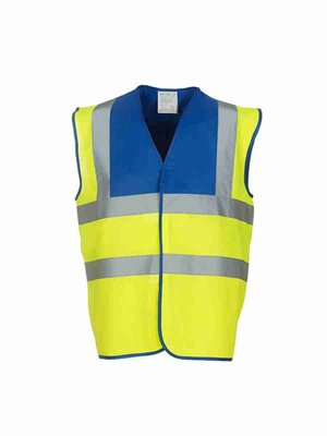 Yoko High Visibility 2 Bands & Braces Waistcoat YK100 mit Bestickung