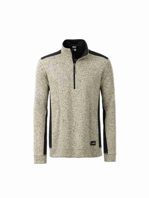 James & Nicholson Men's Knitted Workwear Fleece Half-Zip JN864 mit Bestickung